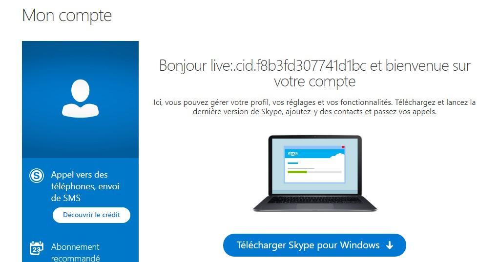 Ecran de bienvenue pour telecharger skype